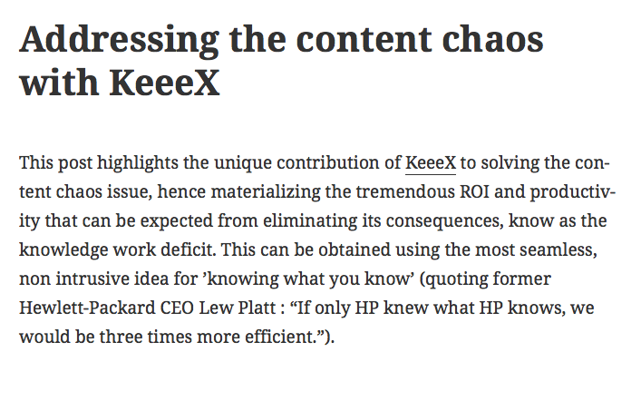 Addressing the content chaos with KeeeX