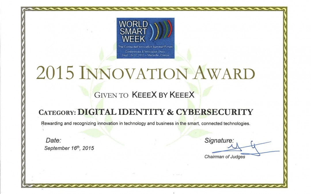 KeeeX Wins World Smart Week Innovation Award 2015